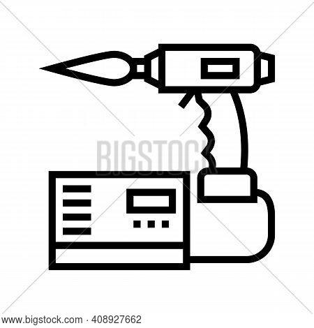 Manual Arc Welding Line Icon Vector. Manual Arc Welding Sign. Isolated Contour Symbol Black Illustra