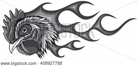 Monochromatic Angry Rooster With Flames. Vector Illustration Graphics