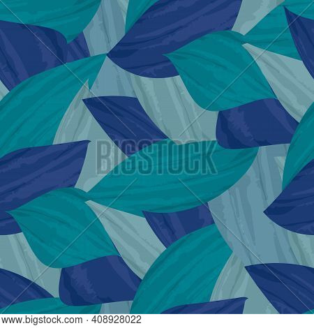 Painterly Aqua Blue Tropical Leaves Seamless Vector Pattern Background. Texture Backdrop With Overla