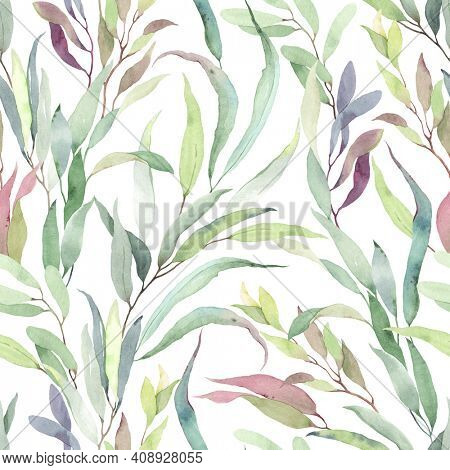 Foliage seamless pattern of colorful branches with leaves, watercolor floral illustration on white background.