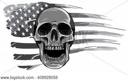 Monochromatic Draw Of Skull And Flag Usa. Vector Illustration.