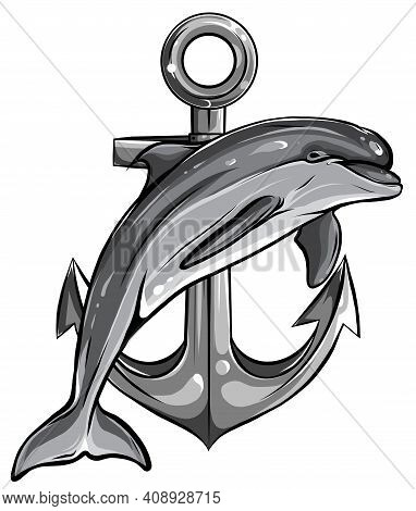 Monochromatic Dolphin Around An Anchor With A Rope, An Ancient Symbol Of The Sea, Vector Illustratio
