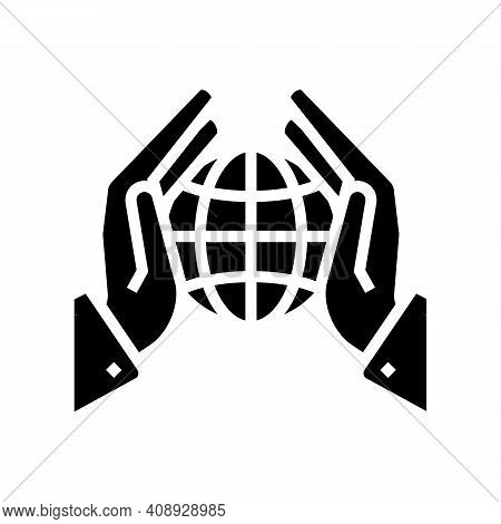 Safety Planet Ecosystem Glyph Icon Vector. Safety Planet Ecosystem Sign. Isolated Contour Symbol Bla