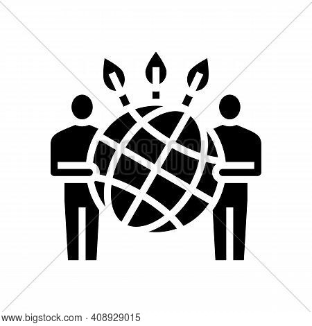 People Safe Planet Ecosystem Glyph Icon Vector. People Safe Planet Ecosystem Sign. Isolated Contour