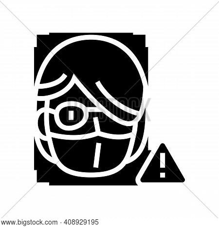 Computer Safe Person Info For Use Face Id Glyph Icon Vector. Computer Safe Person Info For Use Face