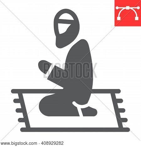Muslim Prayer Glyph Icon, Happy Ramadan And Religion, Islamic Prayer Vector Icon, Vector Graphics, E