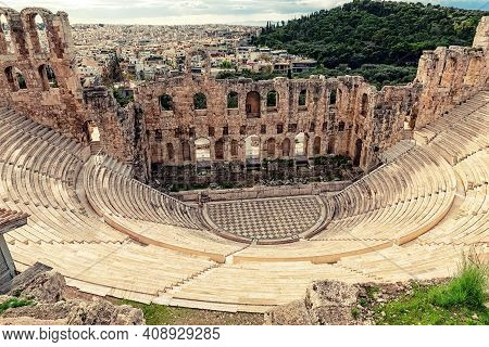 The Odeon Of Herodes Atticus (also Called Herodeion Or Herodion) Is A Stone Roman Theater Located On