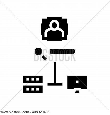 Server Data Base For Storage Face, Online Face Id App Glyph Icon Vector. Server Data Base For Storag