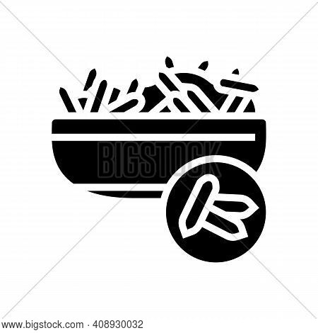 Rice Groat Glyph Icon Vector. Rice Groat Sign. Isolated Contour Symbol Black Illustration