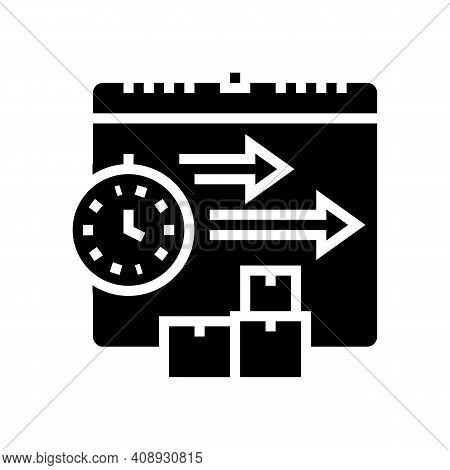 Time Delivery Procurement Glyph Icon Vector. Time Delivery Procurement Sign. Isolated Contour Symbol