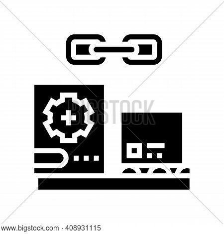 Supply Chain Glyph Icon Vector. Supply Chain Sign. Isolated Contour Symbol Black Illustration