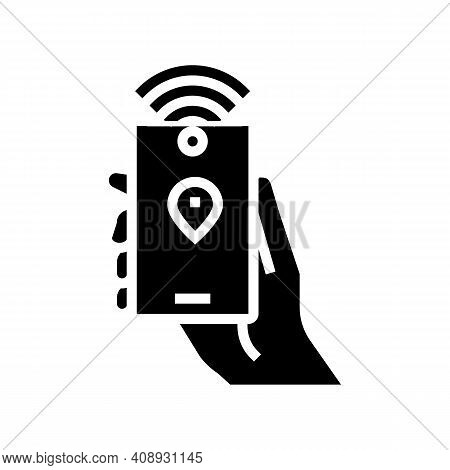Smartphone With Rfid Nfc Technology Glyph Icon Vector. Smartphone With Rfid Nfc Technology Sign. Iso