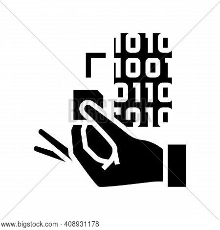 Programming Rfid Chip Glyph Icon Vector. Programming Rfid Chip Sign. Isolated Contour Symbol Black I