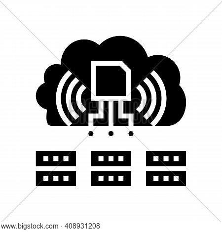 Servers Storaging Info From Rfid Glyph Icon Vector. Servers Storaging Info From Rfid Sign. Isolated