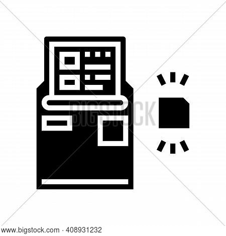 Atm With Rfid Technology Glyph Icon Vector. Atm With Rfid Technology Sign. Isolated Contour Symbol B