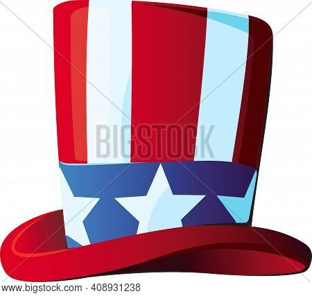 Uncle Sam's Hat In A Top Hat Stylized Under The Stars And Stripes Usa Flag Side View