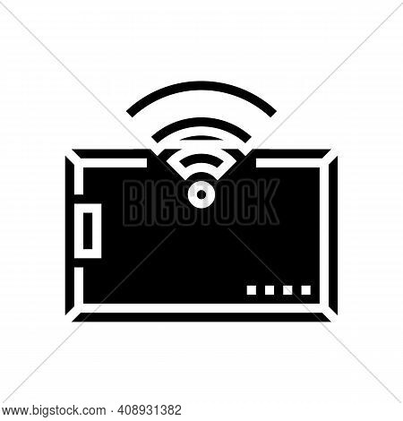 Card With Rfid Technology Wireless Access Glyph Icon Vector. Card With Rfid Technology Wireless Acce