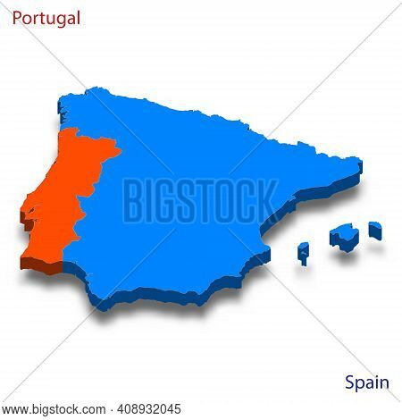 3d Isometric Map Portugal And Spain Relations Vector Illustration