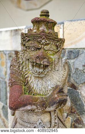 Traditional Indonesian Religious Statue, Sacred Monkey. The Island Of Bali.