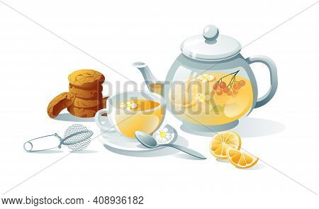 Tea Set Green, Herbal, Black. Teapots, Cups, Tea Bag, Strainer, Cookies. Objects Are Isolated On A W