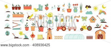 A set of icons for farm and agriculture. Plants and gardening tools. Plant planting and plant care. Flower business. Agricultural machinery and technology. Icons like farmer, cultivation, plant, crop.