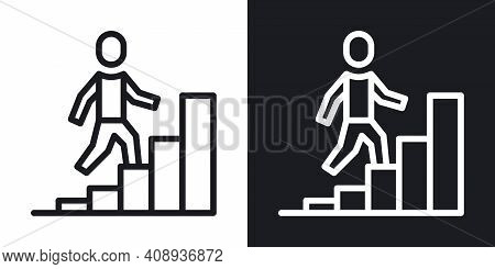 Career Growth Icon. Simple Two-tone Vector Illustration On Black And White Background