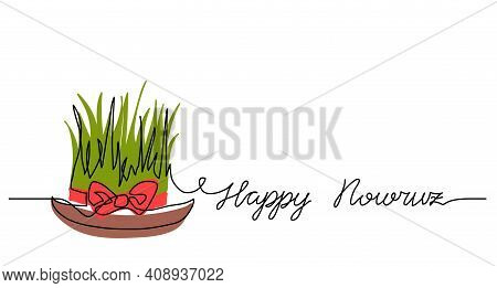 Happy Nowruz Simple Background, Poster, Banner With Green Wheat Grass And Red Ribbon. One Continuous