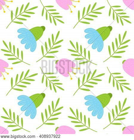 Vector Floral Pattern In Doodle Style With Flowers And Leaves. Gentle, Spring Floral Background. Vec
