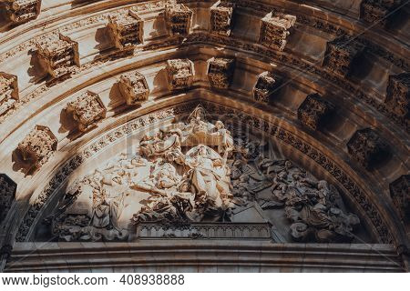 Seville, Spain - January 19, 2020: Close Up Of Architectural Details On Seville Cathedral, A Roman C