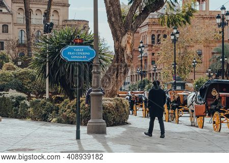 Seville, Spain - January 19, 2020: Street Name Sign On Calle Fray Ceferino Gonzales Street In Sevill