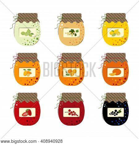 Set Of Jars Of Fresh Berries Jam And Sunny Juicy Fruits Jam. Homemade Handmade Jam From Limes, Manda