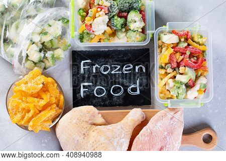 Set Of Various Frozen Products. Frozen Food, Vegetables And Meat. Top View