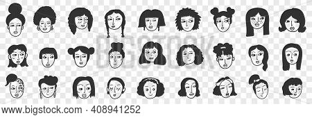 Hairstyle Of Brunette Woman Doodle Set. Collection Of Hand Drawn Female Faces With Black Hair With V
