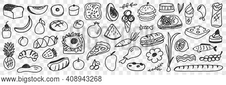 Fresh Ingredients And Foods Doodle Set. Collection Of Hand Drawn Pizza Bread Fruits Vegetables Ice C
