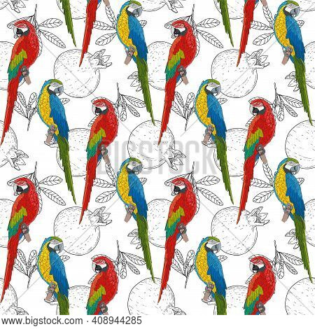 Large Colored Parrots On A Vegetable Monochrome Background. Red And Green Birds On A Pomegranate Pat