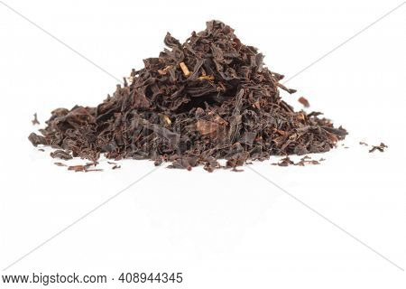 Chinese red or black tea isolated on white background