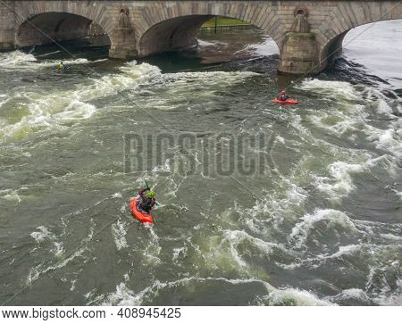 Stockholm, Sweden - December 2019. An Aerial View Of Athletes Kayakers Training To Overcome Water Ob