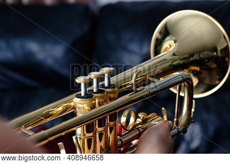 Trumpet. Close Up Of A Trumpet, Blurred Background