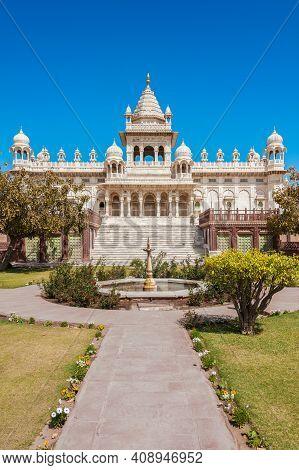 Jodhpur, Rajasthan, India - 02 28 2012: The Jaswant Thada Cenotaph (funerary Monument) Built By Maha