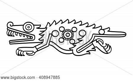 Aztec Crocodile Symbol, Black And White Illustration. Depicted In Codex Laud In 16th Century. Also C