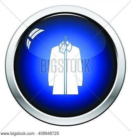Blouse On Hanger With Sale Tag Icon. Glossy Button Design. Vector Illustration.