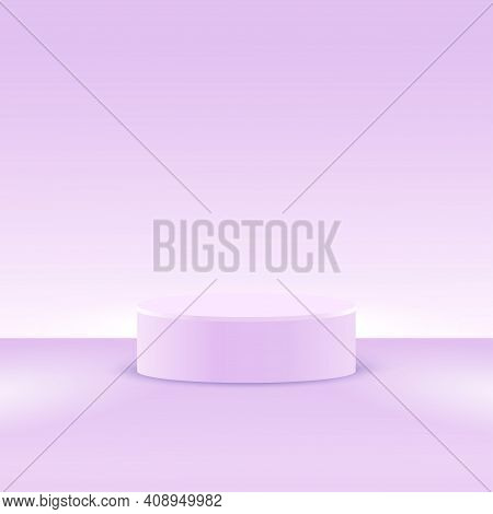 A Podium Stage Or Platform For A Minimal Pastel Lilac Background. Vector Round Stand For Studio 3d R