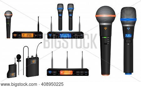 Set Of Realistic Wireless Microphone Or Microphone Transmitter Receiver Or Module Wireless Microphon
