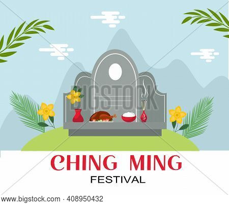Ching Ming Traditional Chinese Festival Celebration. Vector Illustration