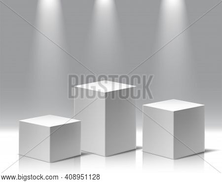 Collection Of Different Highs Museum Exposition, Blank Product Stands. 3d Realistic Vector Square Po