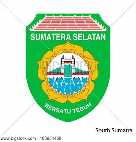 Coat Of Arms Of South Sumatra Is A Indonesian Region. Vector Heraldic Emblem