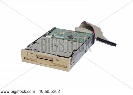 Floppy Disk Isolated On White Background, Old And Obsolete Computer Hardware.
