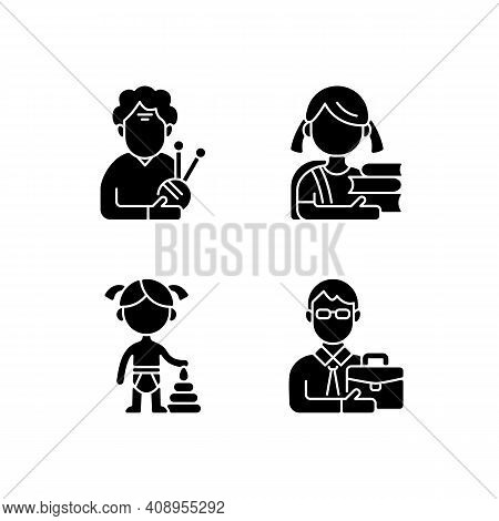 Aging Process Black Glyph Icons Set On White Space. Elderly Woman. Schoolgirl. Female Toddler. Middl