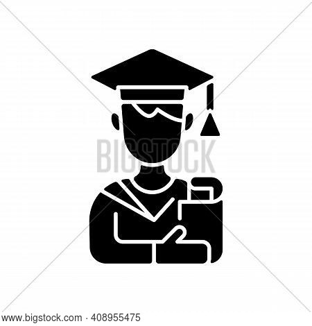 Male Student Black Glyph Icon. Early Adulthood. Establishing Identity. Pursuing Education. Life Stag