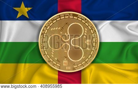 Saint Vincent And The Grenadines Flag, Ripple Gold Coin On Flag Background. The Concept Of Blockchai